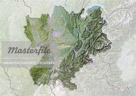 Vue satellite avec effet de relief de Rhone-Alpes, France. Cette image a été compilée à partir de données acquises par les satellites LANDSAT 5 & 7.