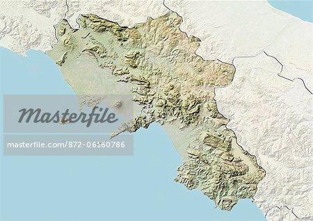 Plan-relief de la région de Campanie en Italie. Cette image a été compilée à partir de données acquises par les satellites LANDSAT 5 & 7 combinées avec les données d'élévation.