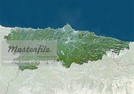 Vue satellite d'Asturies, Espagne. Cette image a été compilée à partir de données acquises par les satellites LANDSAT 5 & 7.
