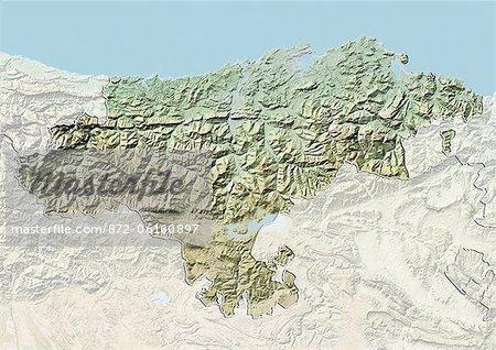 Plan-relief de Cantabrie, Espagne. Cette image a été compilée à partir de données acquises par les satellites LANDSAT 5 & 7 combinées avec les données d'élévation.