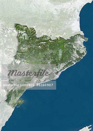Vue satellite de la Catalogne, en Espagne. Cette image a été compilée à partir de données acquises par les satellites LANDSAT 5 & 7.