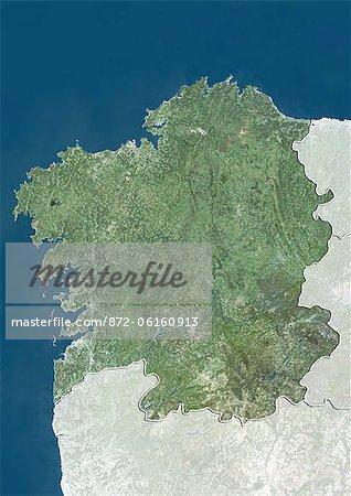Vue satellite de la Galice, Espagne. Cette image a été compilée à partir de données acquises par les satellites LANDSAT 5 & 7.