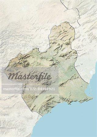 Plan-relief de Murcia, Espagne. Cette image a été compilée à partir de données acquises par les satellites LANDSAT 5 & 7 combinées avec les données d'élévation.
