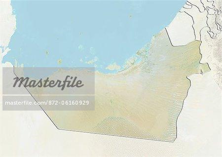 Plan-relief de l'émirat d'Abu Dhabi, Émirats Arabes Unis. Cette image a été compilée à partir de données acquises par les satellites LANDSAT 5 & 7 combinées avec les données d'élévation.