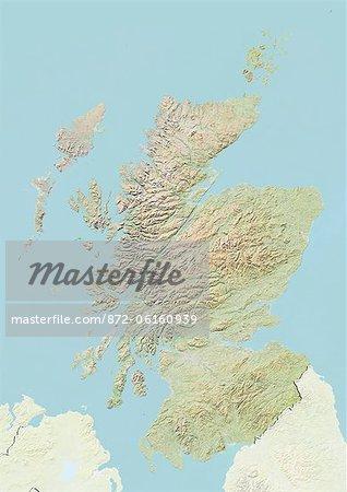 Plan-relief de l'Écosse, Royaume-Uni. Cette image a été compilée à partir de données acquises par les satellites LANDSAT 5 & 7 combinées avec les données d'élévation.