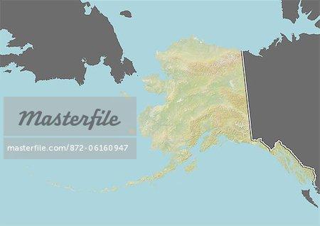 Plan-relief de l'Alaska, aux États-Unis. Cette image a été compilée à partir de données acquises par les satellites LANDSAT 5 & 7 combinées avec les données d'élévation.