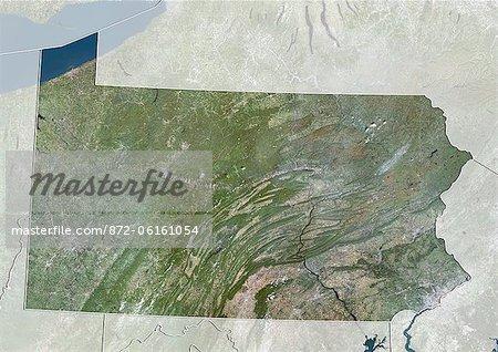 Vue satellite de l'état de Pennsylvanie, aux États-Unis. Cette image a été compilée à partir de données acquises par les satellites LANDSAT 5 & 7.