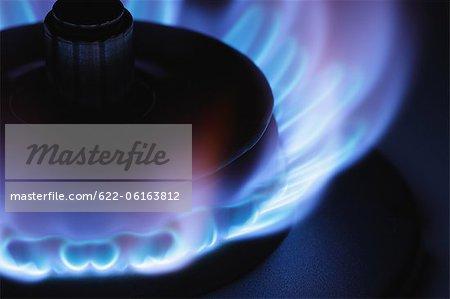 Flamme de gaz de cuisine, gros plan