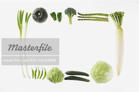 Horizontale Ausführung von grünem Gemüse
