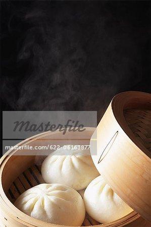 Hot Dumpling In Wooden Container
