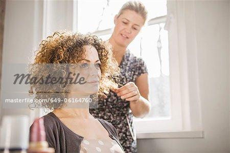 Friseur auf Client arbeiten