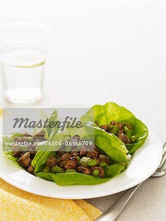 Stir-fried chicken in lettuce cups