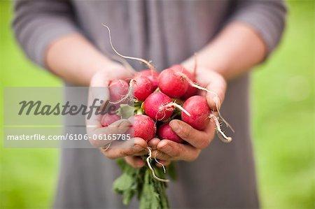 Femme tenant un bouquet de radis