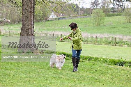 Frau mit ihrem Hund spielen