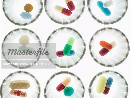 Pills in dispenser cups
