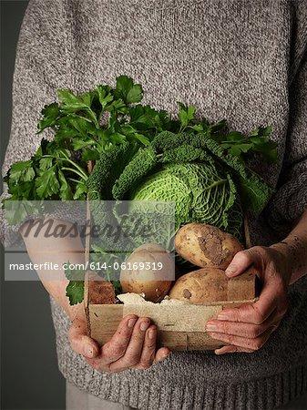 Frau hält Gemüse Holzkiste