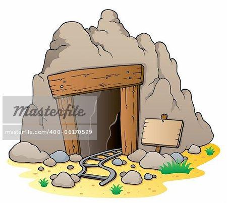 Cartoon mine entrance - vector illustration.