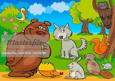 cartoon illustration of funny wild forest animals