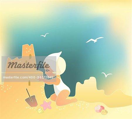 Vector illustration of a girl building sandcastle