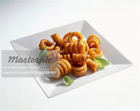 Deep-fried potato spirals