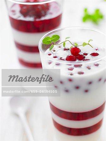 Buttermilch und Rote Johannisbeere gestaffelte Dessert mit Minze