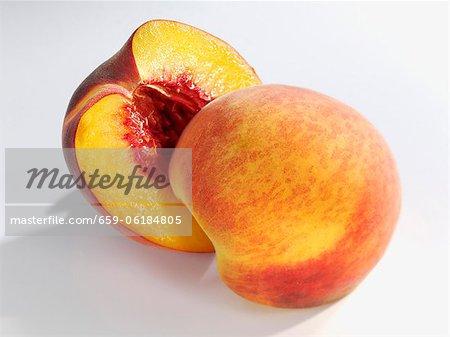 A halved peach