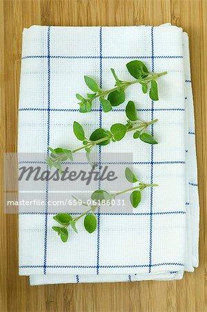 Oregano sprigs on a tea towel