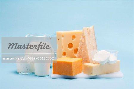 Divers produits (yaourt, fromage, lait, quark) sur un fond bleu laitiers
