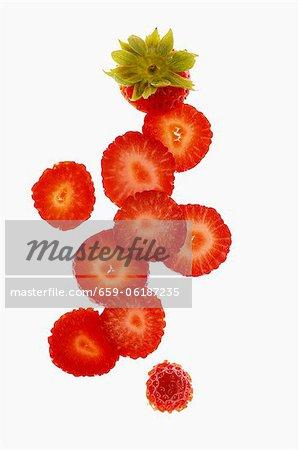 Tranches de fraises (vues de dessus)
