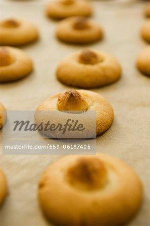 Biscuits de noix de macadamia sur papier sulfurisé
