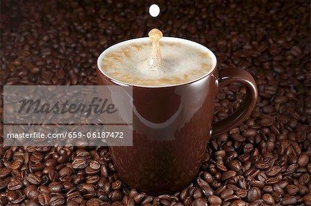 Drops falling into a latte