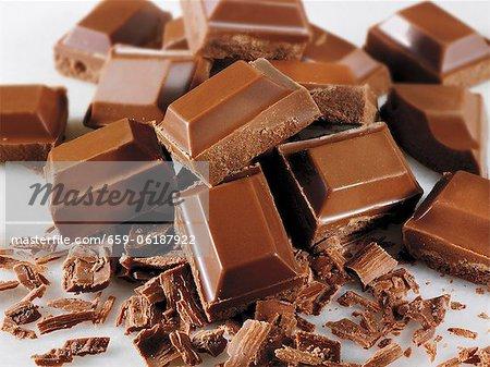 Viele Stücke Schokolade