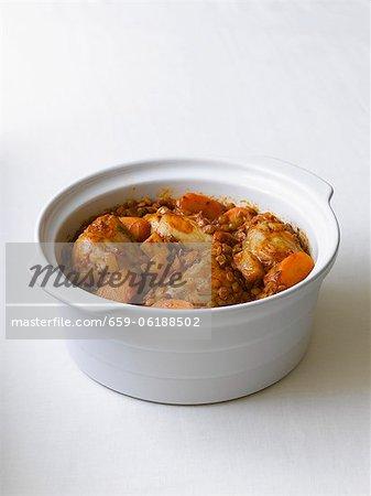 Ragoût de poulet aux carottes et lentilles