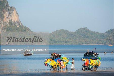 Vendors Selling Beach Toys on Beach, Pak Meng Beach, Trang, Thailand