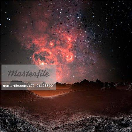 Nebula seen from an alien planet, computer artwork.