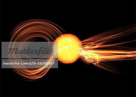 Éruption solaire, oeuvre de l'ordinateur.