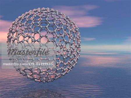 Buckyball molecule, computer artwork.