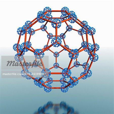 Super buckyball molécule, oeuvre de l'ordinateur.
