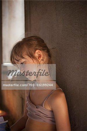 Jeune fille en sueur
