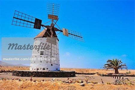 old windmill in El Cotillo, Fuerteventura, Canary Islands, Spain