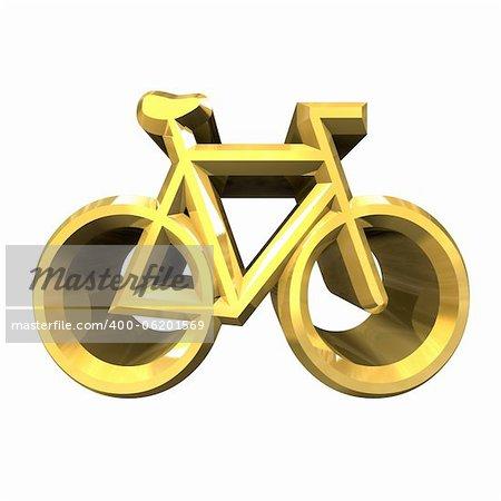bike symbol in gold (3d made)