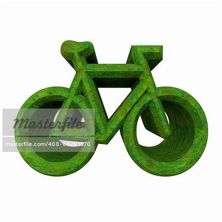 bike symbol in grass (3d made)