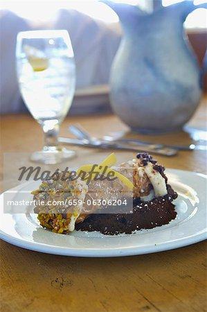 Pistachio Cannoli on a White Plate