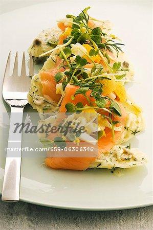 Salade de pommes de terre au saumon fumé, oeuf et herbes