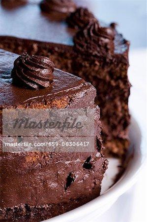 Chocolate cake, sliced (close-up)