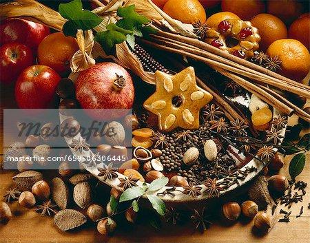 An Christmas arrangement with a pomegranate