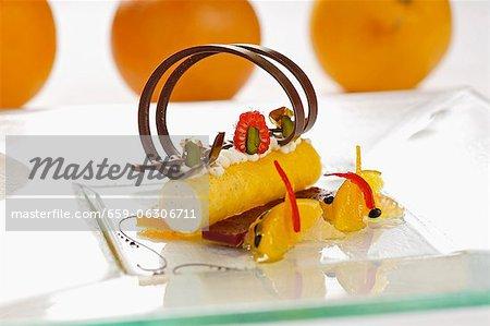 Quark mousse in saffron cannelloni with citrus fruit ragout