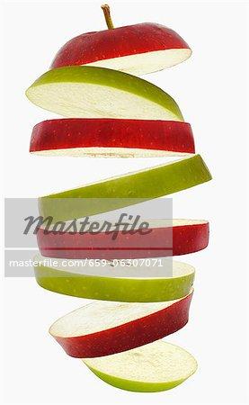 Volantes de tranches de pomme rouge et vert