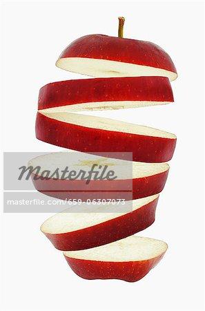 Volantes de tranches de pomme rouge