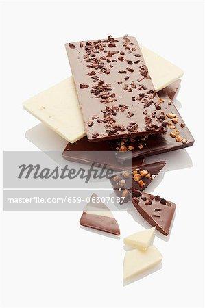 Différents types de barres de chocolat